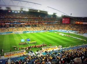 The teams line up ahead of Australia v. Oman at Stadium Australia on Tuesday 13th January, 2015